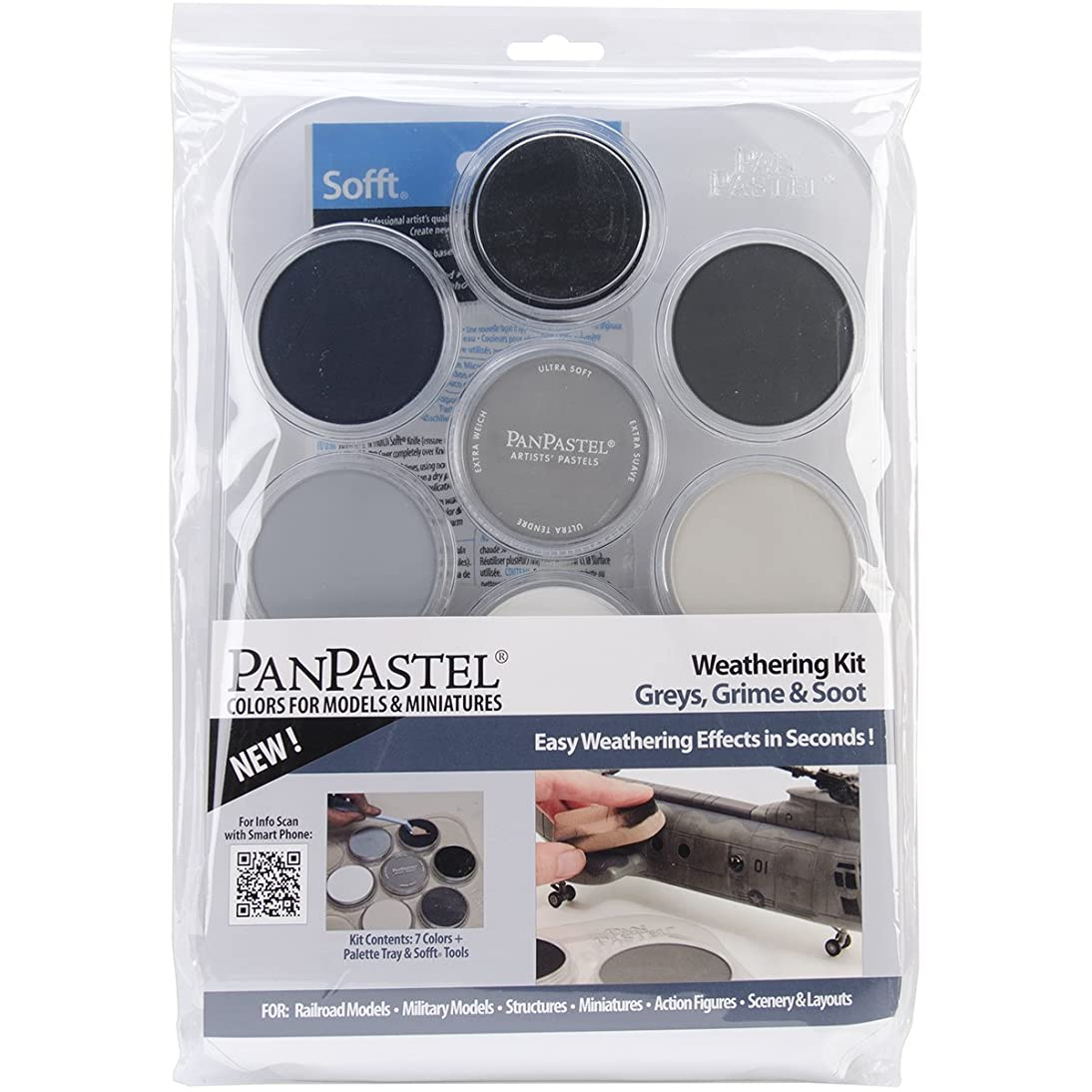 Colorfin PanPastel Ultra Soft Artist Pastel Set, 9ml, Weathering, Grays/Grime/Soot, 7-Pack