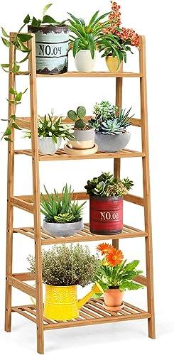 popular Giantex 4-Tier Ladder Shelf Plant lowest Stand, lowest Bamboo Flower Pots Holder Display Rack, Multifunctional Ladder-Shaped Bookshelf Storage Shelves for Home Office Living Room Bathroom Bedroom Kitchen (Natural) sale