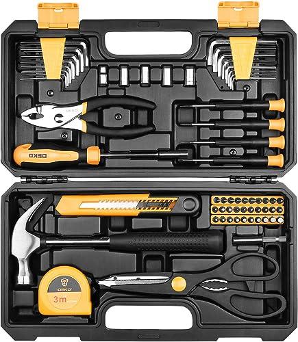 Set di utensili DEKO 62 pezzi Kit di attrezzi per la mano per uso domestico generico con custodia di plastica