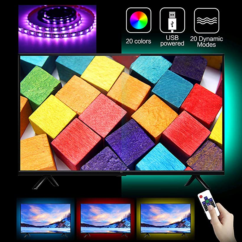 LED Strip Lights, Juhefa LED TV Backlight for 32-60inch Television,Multi-Color Bias Light with RF Remote Controller & Strong Adhesive Tape for Home/Room/Kitchen Decor (RGB,6.56Ft)