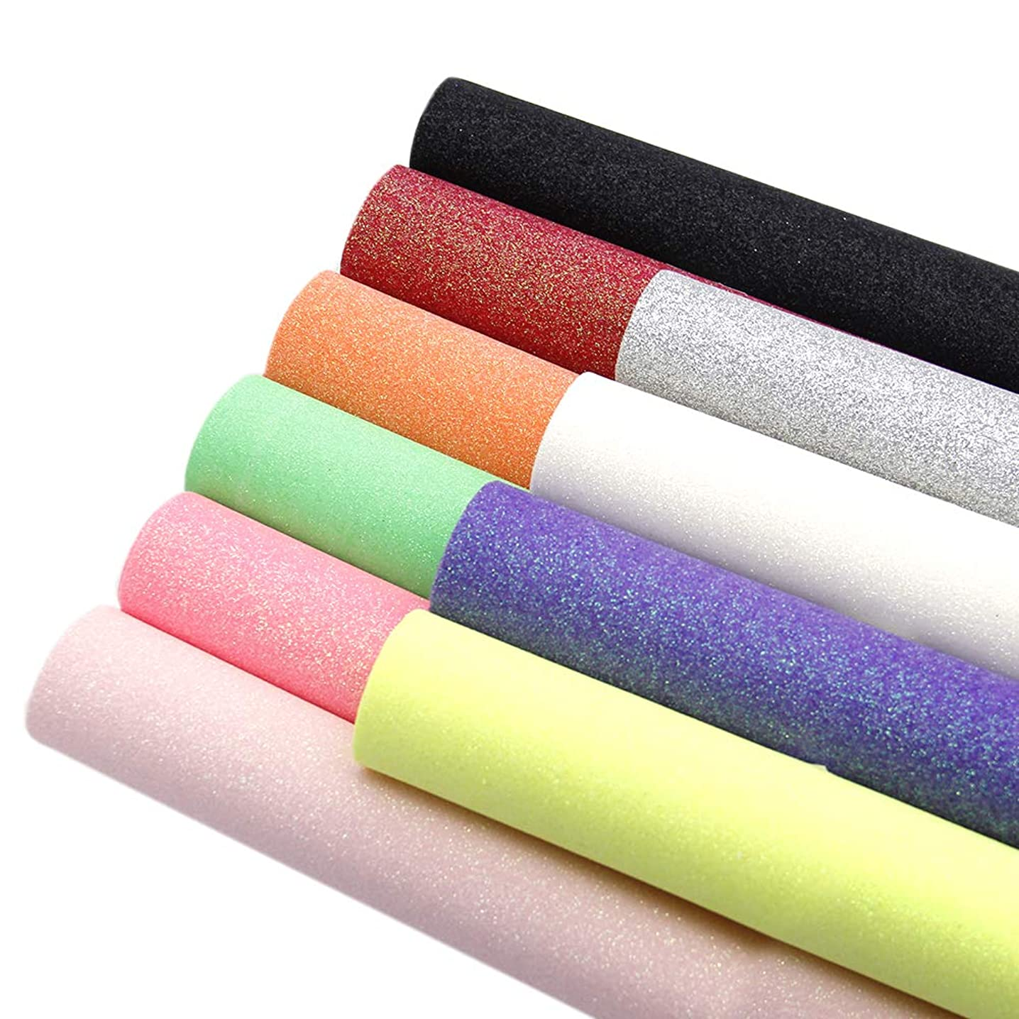 David accessories Shiny Superfine Glitter Faux Leather Sheets Solid Color Synthetic Leather Fabric 10 Pcs 8 x 13