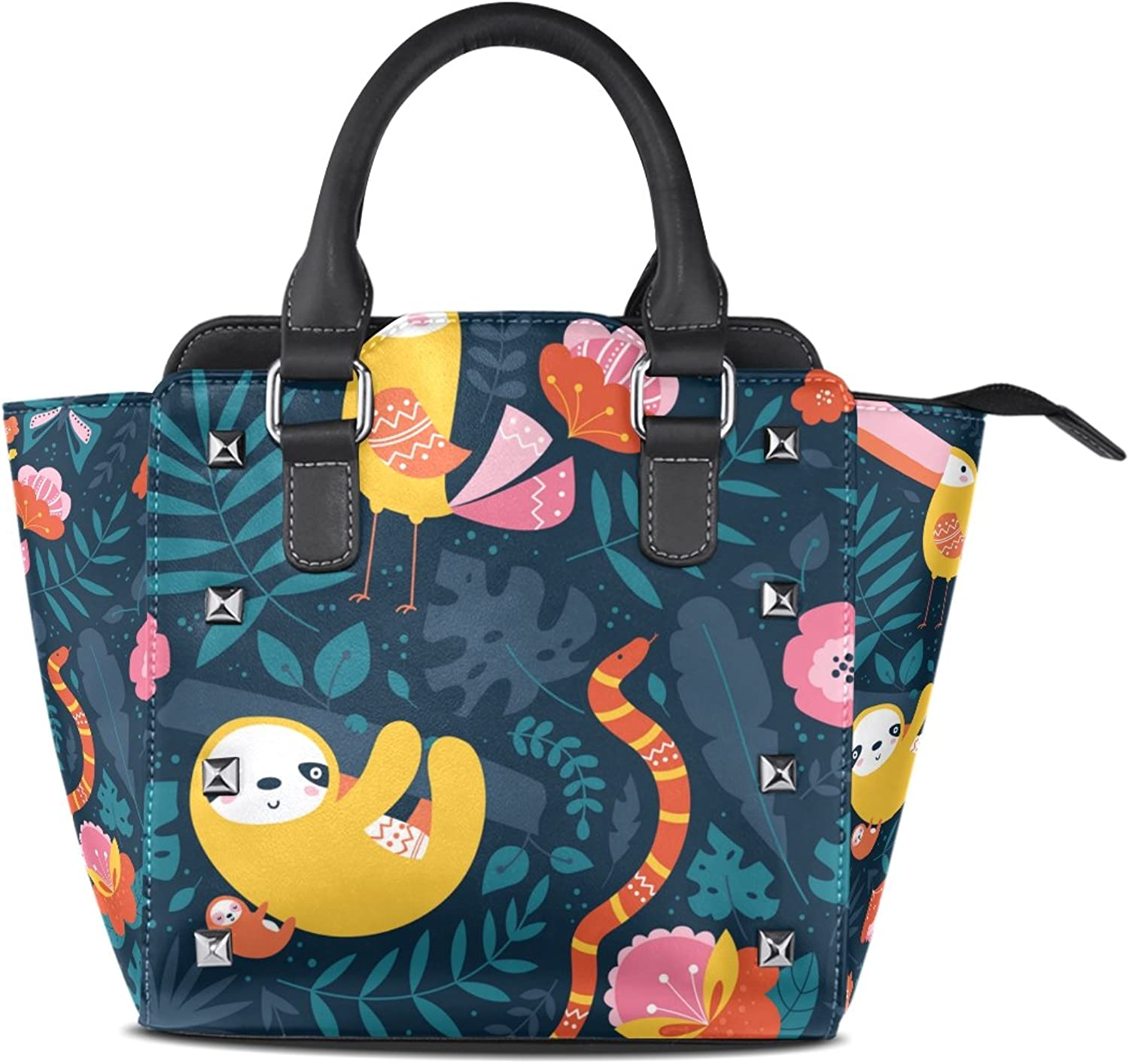 My Little Nest Women's Top Handle Satchel Handbag Tropical Cute Toucan Sloth Snake Ladies PU Leather Shoulder Bag Crossbody Bag