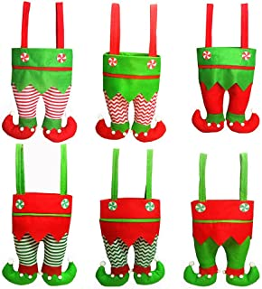 Honeystore Christmas Elf Boots Candy Cookie Gift Bag Sack Stocking Filler Xmas Party Decoration Sack-Pack of 6 Style C