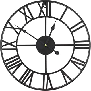 Aceshop Grande Horloge Pendule Murale en métal Style Vintage - diamètre 40 cm - Coloris Noir
