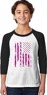 SpiritForged Apparel Pink Ribbon American Flag Breast Cancer Youth 3/4 Raglan Shirt