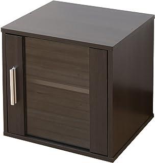 山善 キューブボックス 幅33×奥行29×高さ33cm ガラス扉付き 棚板 背面化粧仕上げ 組み合わせても 組立品 ジョイブラウン CCR-3535GD(JB)
