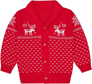 SANMIO Toddler Baby Boys Girls Deer Christmas Cardigan Sweater Button-up Cotton Coat