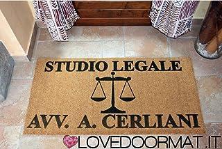 ZERBINO PERSONALIZZATO STUDIO LEGALE DA INTERNO COCCO NATURALE CM. 100x50 SPAZZOLA ASCIUGA SPORCO LOVEDOORMAT ® HANDMADE I...