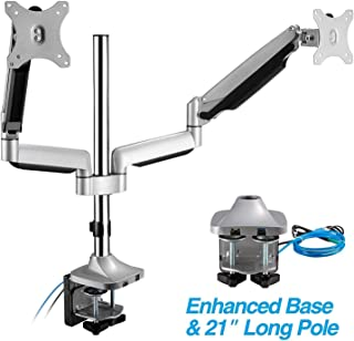 """AVLT Dual 13""""-32"""" Monitor Arm Desk Mount fits Two Flat/Curved Monitor Full Motion Height Swivel Tilt Rotation Adjustable Monitor Arm - Extra Tall Pole/VESA/C-Clamp/Grommet/Cable Management"""