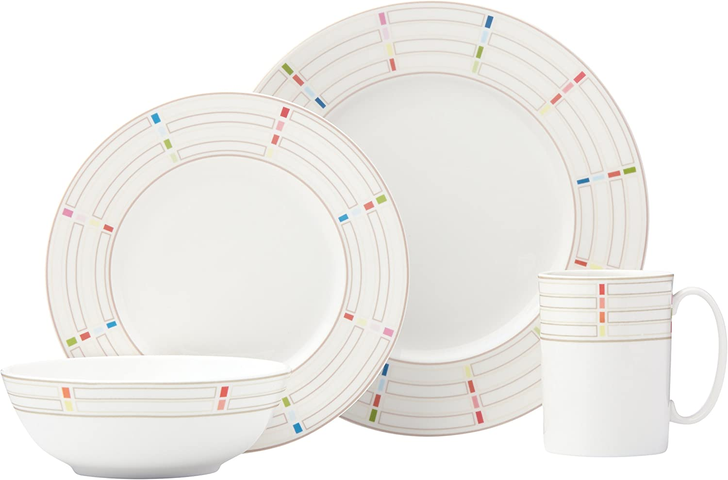 Lenox 4 Piece Entertain 365 Sculpture Confetti Place Setting, Multicolor
