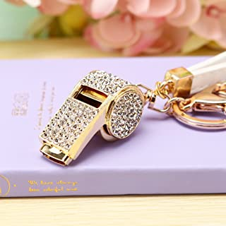 Whistle Shape Keyring High Grade Rhinestone Crystal Pendant Key Chain Gift (Gold)