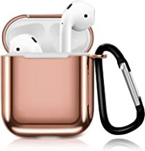 HAYUL Airpods Case, 2019 Newest TPU Shockproof Protective Silicone Airpods Case Cover with Portable Keychain for Apple Airpods 1st / 2nd Charging Case(Support Wireless Charging Case) (Rose Gold)