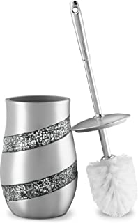 DWELLZA Toilet Bowl Cleaner Brush and Holder Set - Silver Mosaic Collection - Decorative Toilet Scrubber - Silver Bathroom Accessories - Good Grips Toilet Brush and Holder - (Silver Gray)