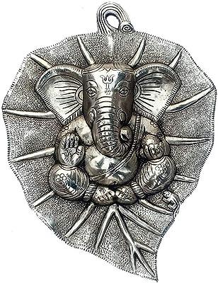 Collectible India Ganesha Wall Hanging Plate Ganesh on Leaf Metal - Silver Plated Ganesh Wall Art Sculpture - Lord Ganesh Idol Ganpati Lucky Feng Shui Wall Decor Arts (Size 12 x 8.5 Inches)