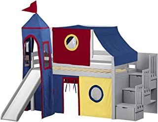 JACKPOT! Castle Low Loft Stairway Bed with Slide Red & Blue Tent and Tower, Loft Bed, Twin, Gray