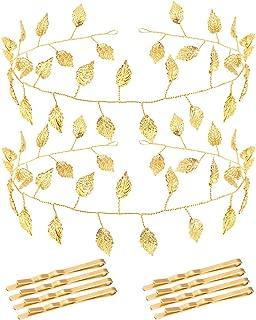 2pcs Leaf Bridal Headpiece Headband, Bride Wedding Hair Vine Headband Laurel Leaves Crown Gold Leaf Branch Crown, Greek Goddess Headband Bohemia Leaf Bridal Accessories for Wedding (Gold)