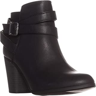 Material Girl Womens Lexia Almond Toe Ankle Fashion Boots, Black, Size 10.0