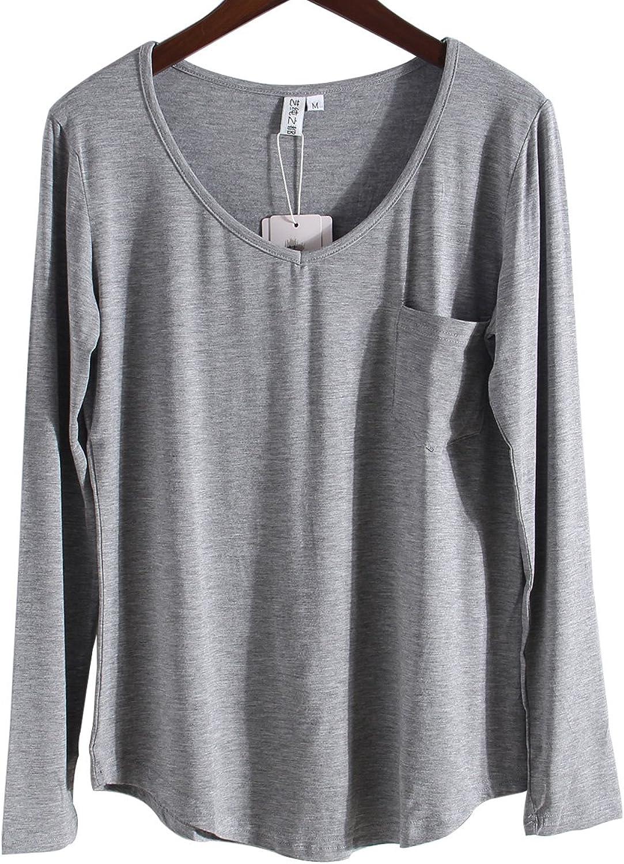 MONOLAR Women's Casual VNeck Short Sleeve High Low Hem Tshirt with Front Pocket