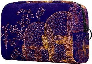 Purple Faces Makeup Bag Toiletry Bag for Women Skincare Cosmetic Handy Pouch Zipper Handbag
