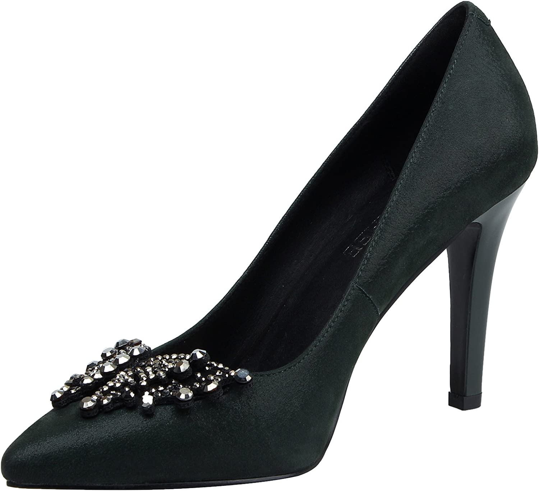 MARHEE Women's Bowtie Slip On High Heels Pointed Toe Genuine Leather Dress Pumps