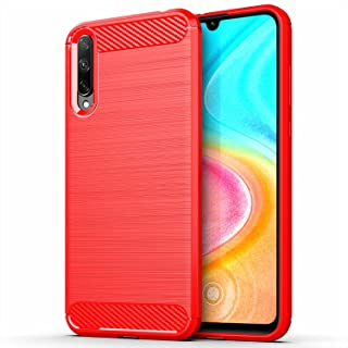 for Huawei Honor 30i Case Brushed Carbon Fiber Texture Style Ultra-thin TPU Soft rubber Anti-drop Protective Cover-Red