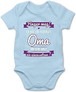 Shirtracer Sprüche Baby - Ich Habe eine verrückte Oma Lila - Baby Body Kurzarm für Jungen und Mädchen