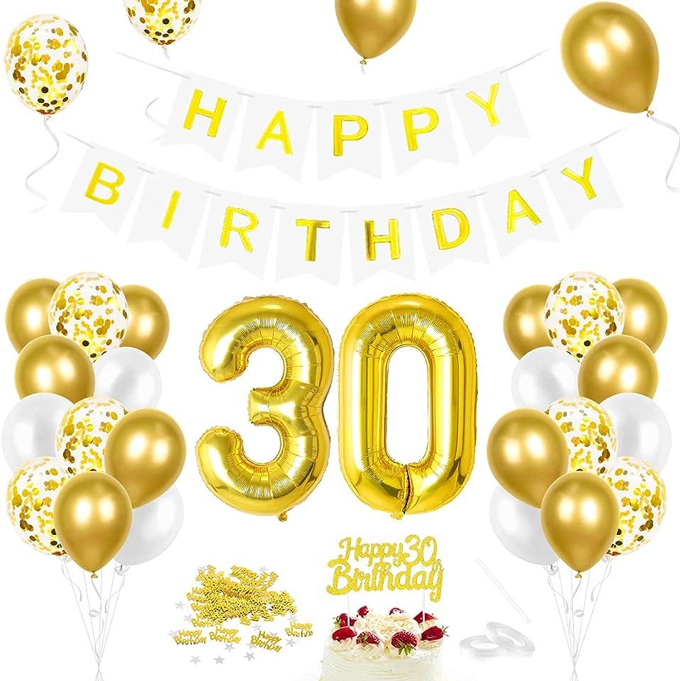 Luftballon 30. Geburtstag Golden, Geburtstagsdeko 30 Jahr, Ballon 30. Geburtstag, Riesen Folienballon Zahl 30, Happy Birthday Folienballon 30, Ballon 30 Deko zum Geburtstag Mann Frau