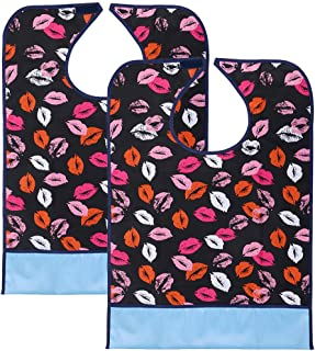 Sumnacon Reusable Waterproof Adult Bibs 2 Pack with Crumb Catcher- Machine Washable, Large Extra Long Mealtime Protector, Dining Bibs with Crumb Catcher(Lip-Prints)