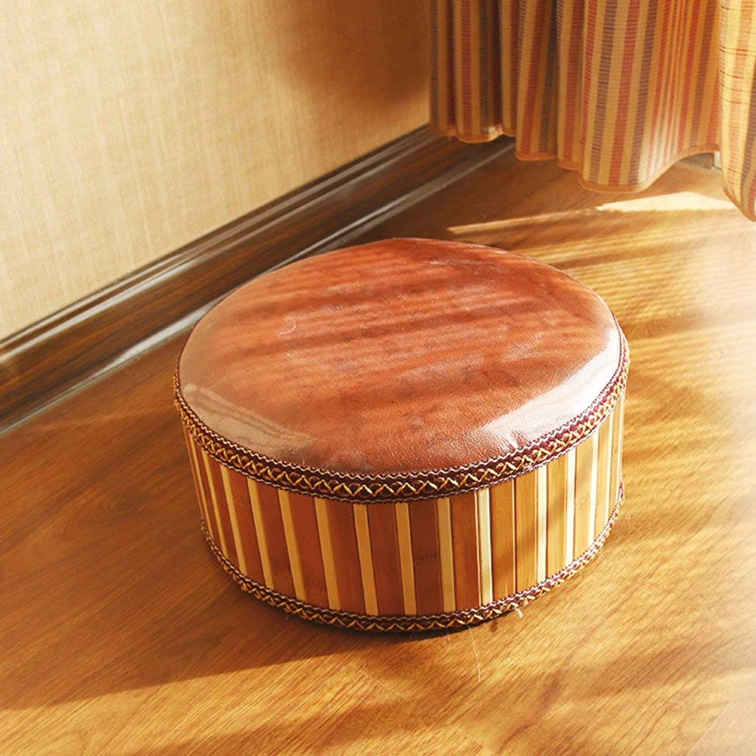Bamboo Round Stool, Solid Wood Zafu Hand Knitting Footstool Creative Vintage Decoration shoes Stool (color   A, Size   30x12cm)