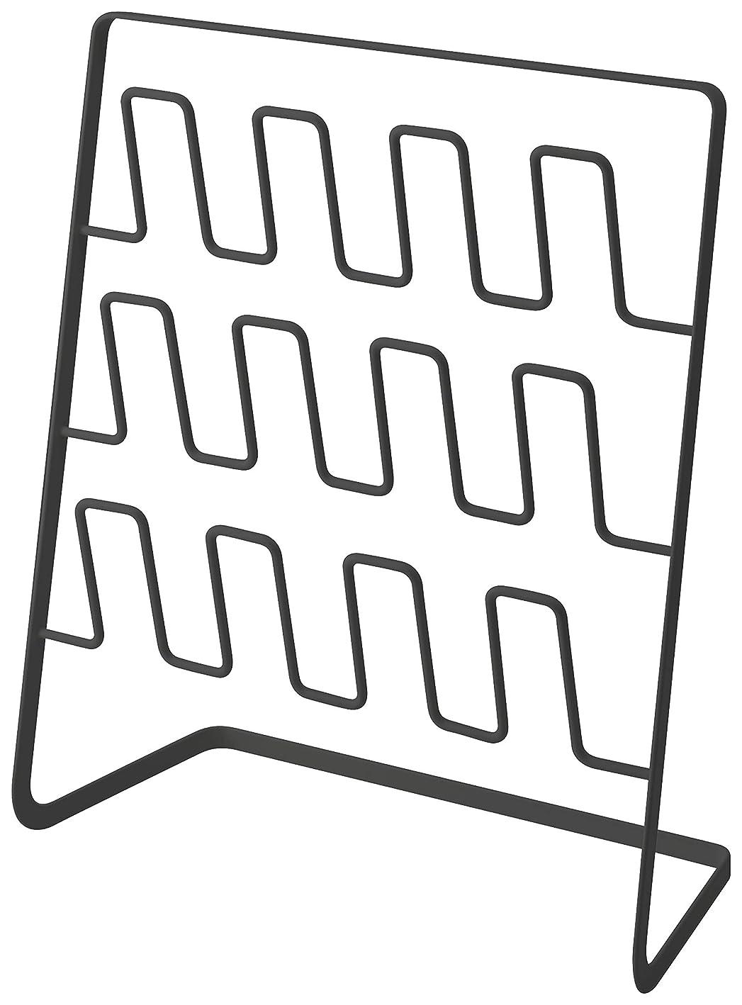シニス評価可能工業化する山崎実業(Yamazaki) スリッパラック 6足用 ワイド ブラック 約W43XH12.5XD50cm フレーム スリッパ 収納 玄関収納 4705
