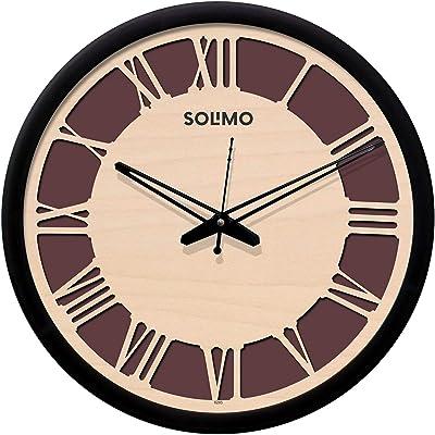Amazon Brand - Solimo 12-inch Plastic & Glass Wall Clock - Roman Carvy (Silent Movement, Black Frame)