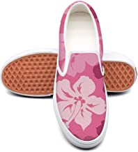 Red Floral Hawaiian Hibiscus Plimsolls Women for Women athletic Skid-Proof Girl Running Shoes