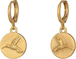 Hummingbird Charm Museum Hoop Earrings