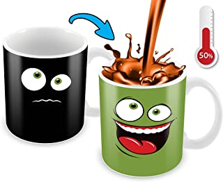 Heat Sensitive Color Changing Coffee Mug | Green Happy Funny Face | Funny Christmas Gift Idea | Funny Coffee Cup - Add Hot Liquid And Reveal The Happy Smiley Face