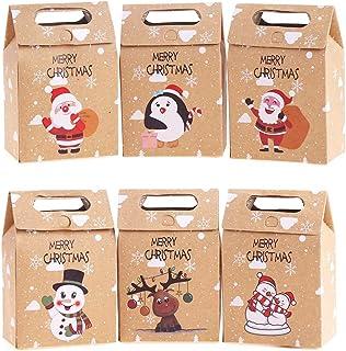 VEYLIN 24 piezas Cajas de Regalo de Navidad Kraft Bolsas de Papel de Caramelo para Decoración de Navidad Suministros (surtido de 6 estilos)