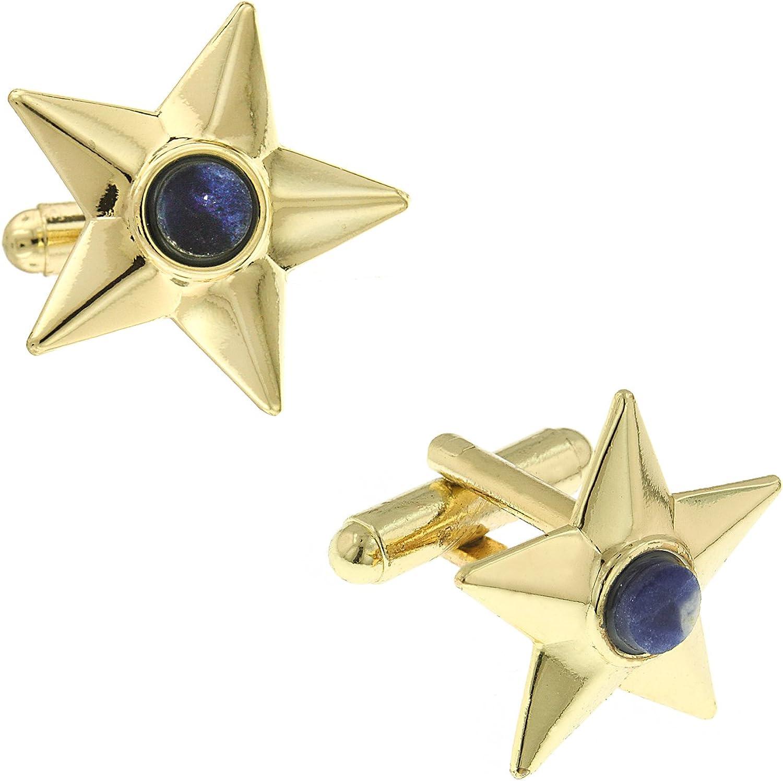 14K Gold Dipped Semi-Precious Blue Sodalite Star Cuff Links
