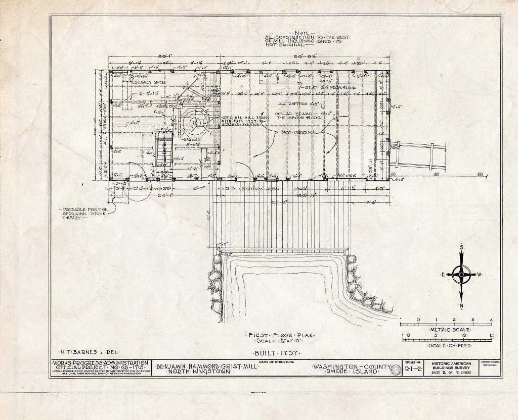 Historic Pictoric : Blueprint HABS RI 2- of 5-KINGN 7 Ranking TOP6 2 Long Beach Mall Sheet
