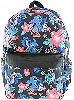 Lilo and Stitch Black Floral Print Full Size Backpack