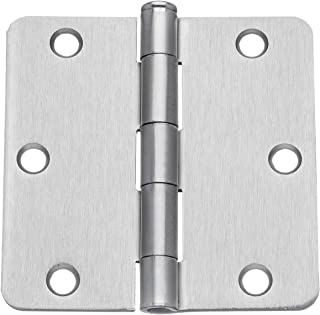 "Dynasty Hardware 3-1/2"" Door Hinges 1/4"" Radius Corner, Satin Nickel, 2 - Pack"