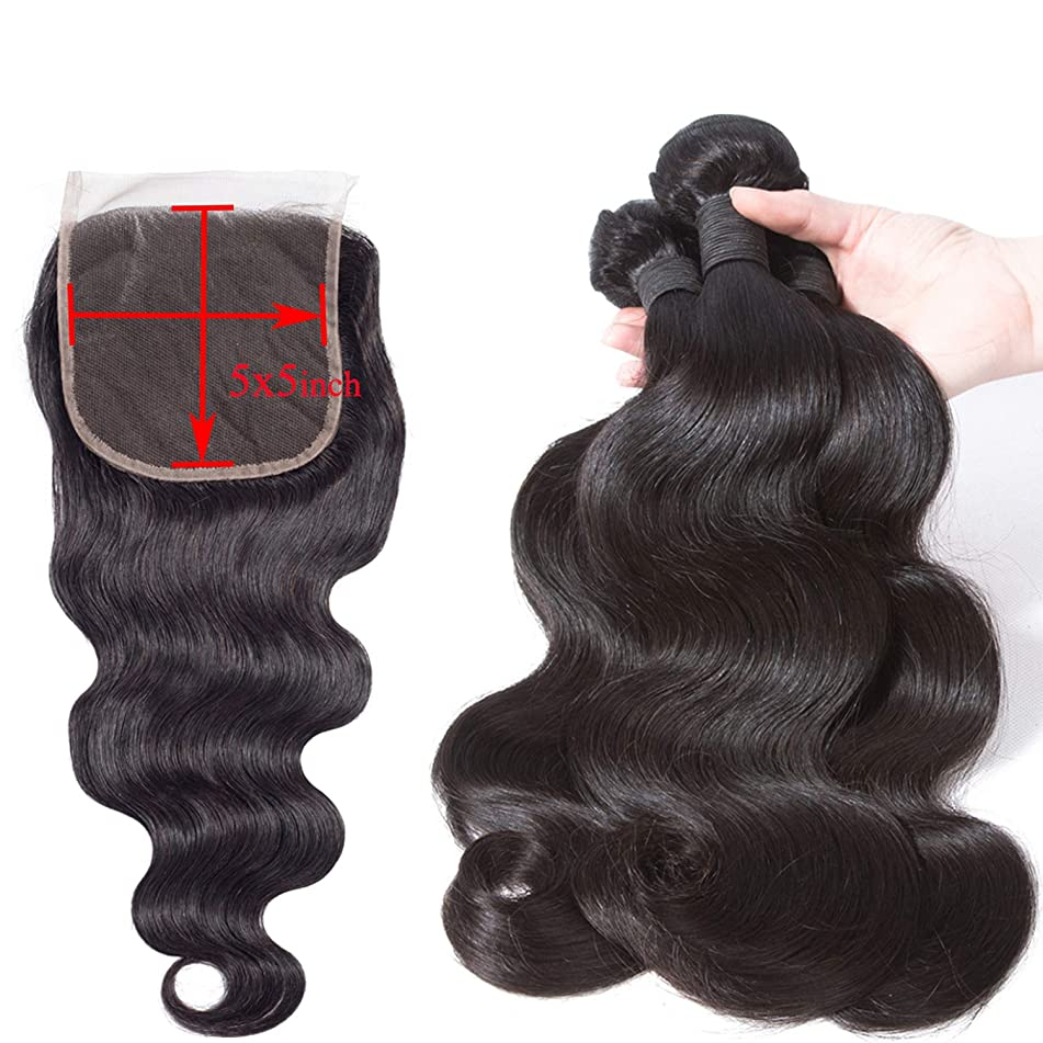 5X5 Lace Closure With Deep Parting Human Hair Bundles With Closure Brazilian Hair Weave Bundles Hair Extension,Natural Color,14 14 14 & Closure12