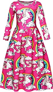 HenzWorld Unicorn Dress Costumes Halloween Nightgowns Cosplay Birthday Party Outfit Accessories 1-10 Years