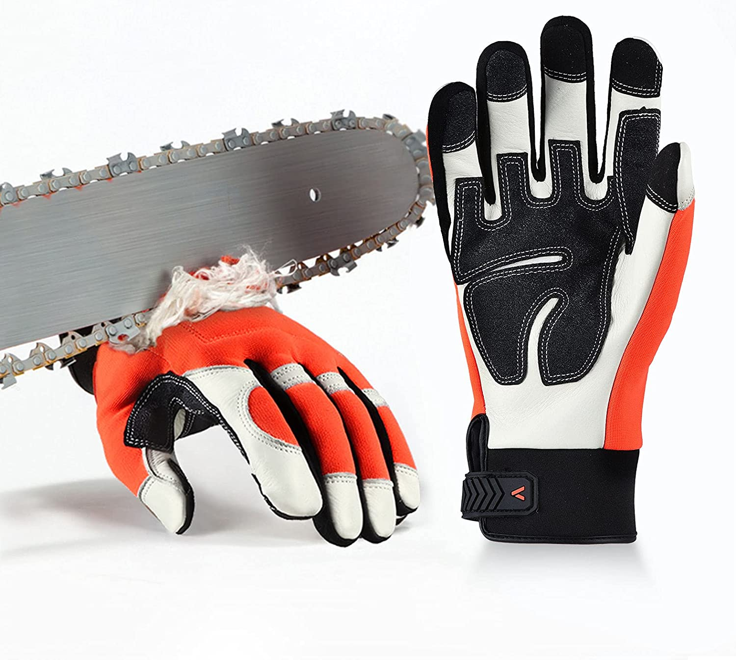Vgo Chainsaw 12-Layer Saw Protection Outlet sale feature Cow 2021 new Leather Orange Gloves