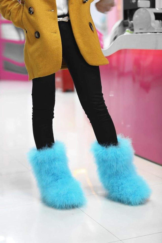 Women Winter Warm Fur Plush Fluffy Fashion Fashion Home Furry Sweet Ladies shoes Feather Hot