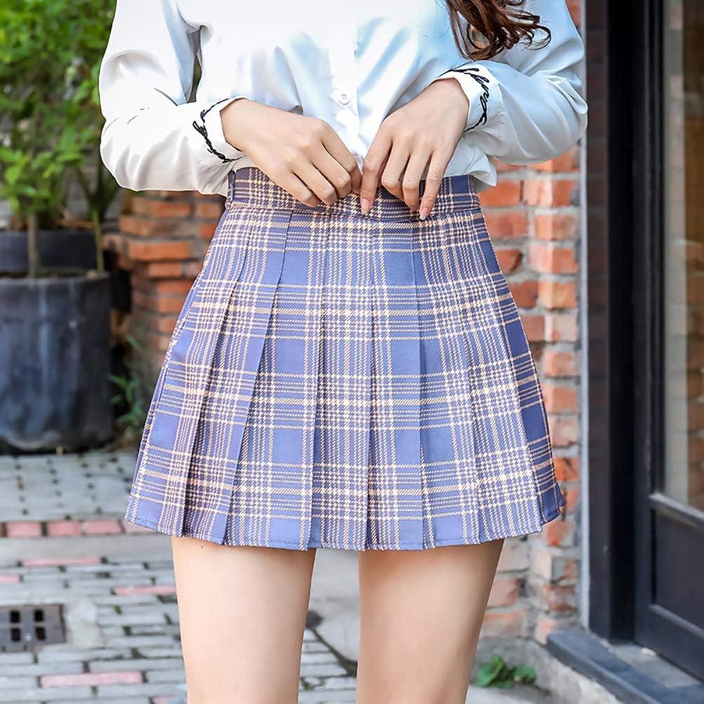 Plaid Skirt Plaid Skirt HIGH Waisted LAOZZI Fashion Pleated Skirts