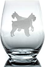 Schnauzer Stemless Wine Glass (One Glass) | Unique Dog Lovers | Hand Etched with Breed Name on Bottom