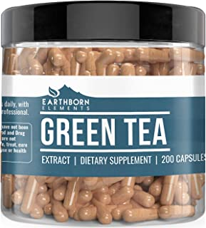Green Tea Extract, 200 Capsules (400 MG per Serving) by Earthborn Elements, Dietary Supplement for Weight Loss, Fast Metabolism, Increased Energy, Immune Boost, Heart & Brain Health