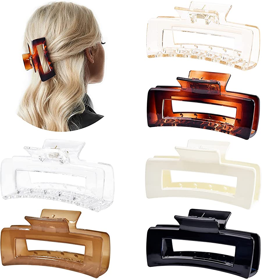 Aileam Hair Claw Clips Large Hair Clips Banana for Women Girls Thin Hair 6 Pack 4 Inch Transparent & Solid Color French Design Strong Hold Hair Clips for Thick Hair