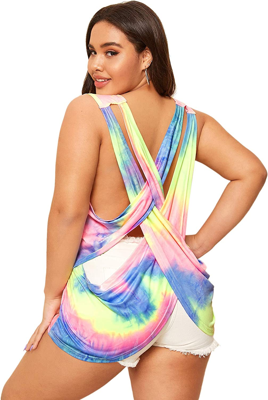 Romwe Women's Plus Size Casual Tie Dye Criss Cross Back Sleeveless Tank Tops Vest