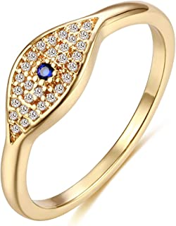 Mevecco Gold Dainty Evil Eye Rings Mountain Ring Stackable Ring Open Wrap Ring CZ Eternity Bands for Women