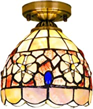 Tiffany Style Natural Shell Ceiling Lights Pastoral Floral Ceiling Lamp Flower Art Ceiling Lighting Fixture for Hallway Ba...